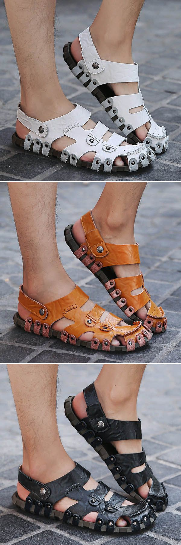 Men Metal Rivet Hole Breathable Soft Outdoor Leather Closed Toe Sandals