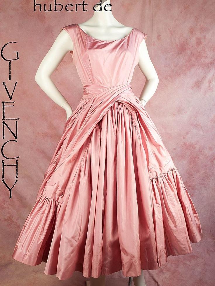 1950s Hubert de Givenchy pink satin dressDe Givenchy, Early 1950 S, 1950 S Hubert, 1950S, Audrey Hepburn, Hubert De, Givenchy Pink, Satin Dresses, Pink Satin
