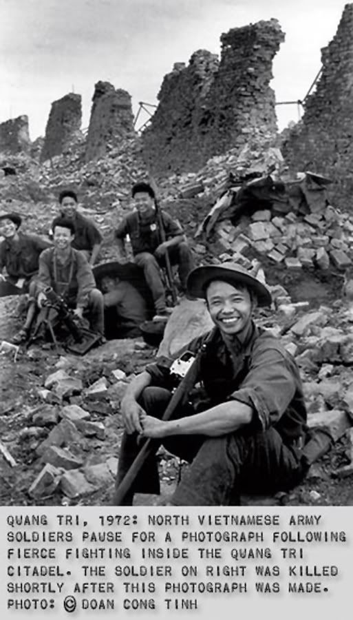 North Vietnamese army soldiers. The soldier on the right was killed shortly after this photo was taken.