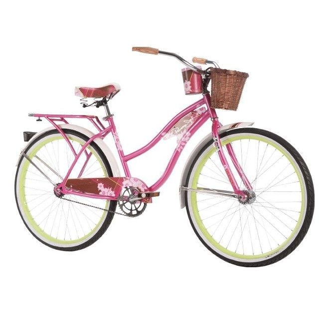 "Womens Beach Cruiser Bike Vintage Ladies Bicycle City 1-Speed Basket Pink 26"" #Huffy #Vintage"