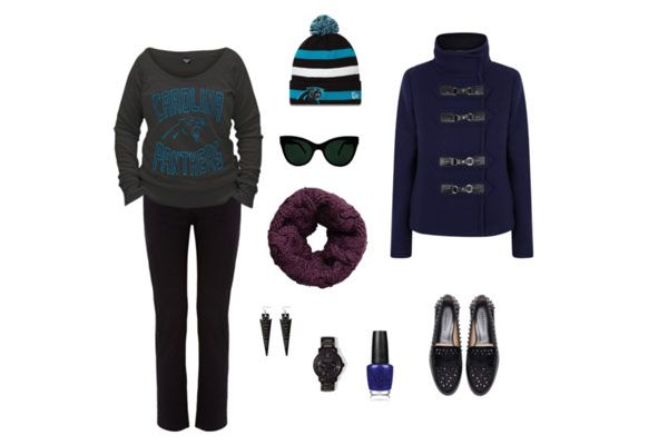 Carolina Panthers fans, get in the red style zone. Studded loafers + wickedly angled cat-eye sunglasses + sporty Panthers beanie = Fierce Panthers Pride. Carolina #Panthers: Game Day #Fashion. #Football #Style #GirlsLovetheGame