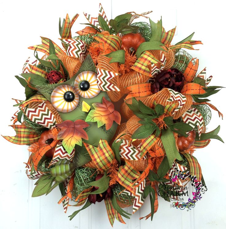 Deco Mesh Fall Burlap Wreath -Owl Sign -Moss -Orange -Door Wreath by www.southerncharmwreaths.com #wreath #burlap #owl