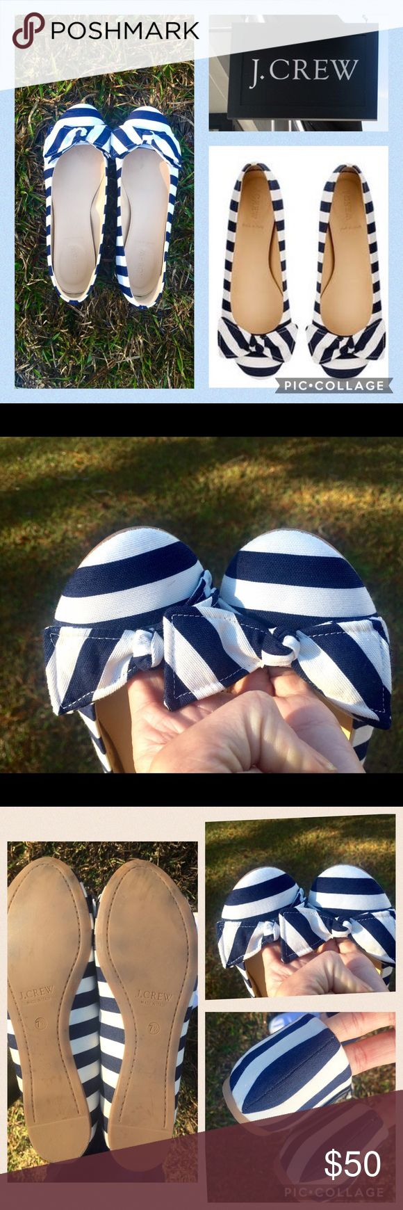 J. Crew Striped Cece Flats💙 J. Crew Striped Nautical Cece Ballet Flats with Bow  ♡ Size:   7.5 ♡Nautical Navy & White ♡ Item 70502; sold out online/in stores  ♡ These shoes are LIKE NEW other than nearly unnoticeable wear on toe-- worn once to an indoor baby shower ♡ Made in Italy J. Crew Shoes Flats & Loafers