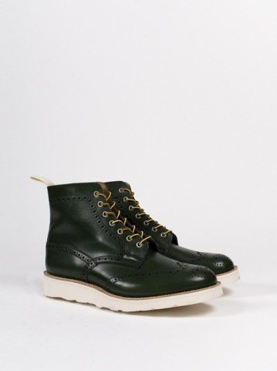 trickers green aniline brogue boots mens shoes