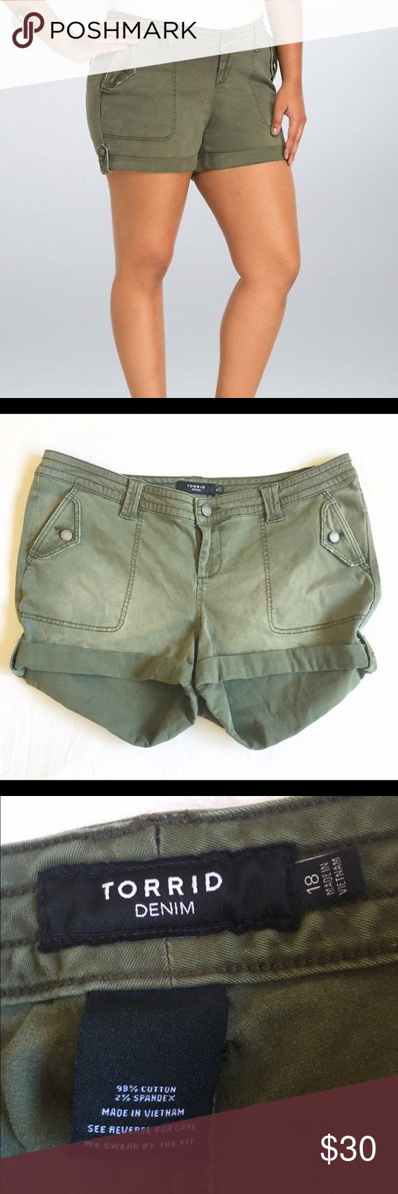 Torrid 18 green military shorts Torrid 18 green military shorts torrid Shorts