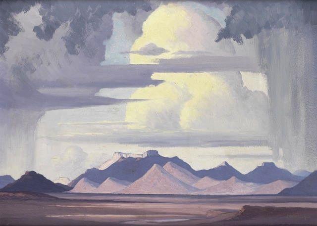 blastedheath:  Jacob Hendrik Pierneef (South African, 1886-1957), Highveld Storm. Oil on board, 41 x 56cm.