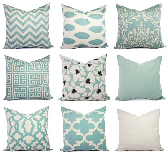 Two Pillow Covers Two Spa Blue Damask by CastawayCoveDecor