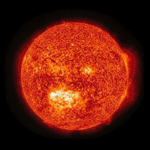 The Sun in different wavelengths. Surely made from the images taken by Extreme Ultraviolet Imaging Telescope on board SOHO. (Via GIPHY)