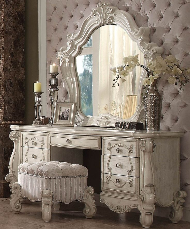 Shop the luxurious Brittany Bone White Vanity Table with mirror and bench…