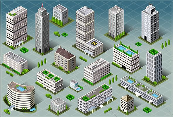 Isometric Buildings — Vector EPS #building #urban • Download here → https://graphicriver.net/item/isometric-buildings-/7128859?ref=pxcr