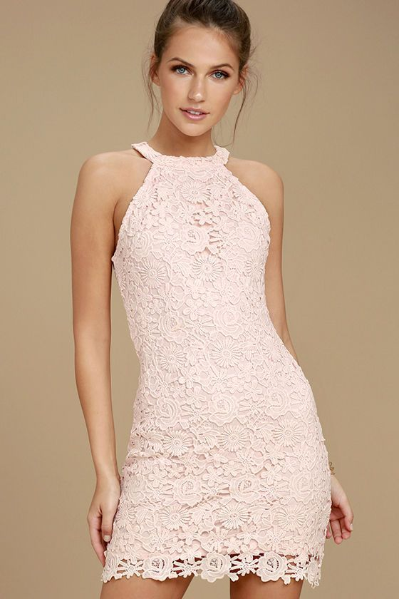 Lulus Exclusive! You'll be collecting notes from secret admirers right and left when you don the Love Poem Blush Pink Lace Dress! A lively pattern of floral lace creates an eye-catching overlay atop knit fabric. Halter neckline and darted sleeveless bodice transition into a chic, sheath skirt. Hidden back zipper with clasp.