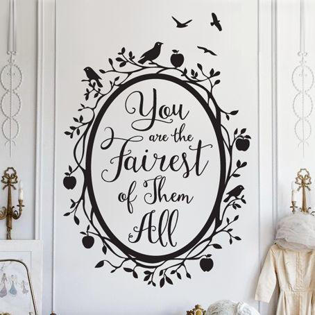 Snow White Fairest of Them All Quote in Woodland Mirror