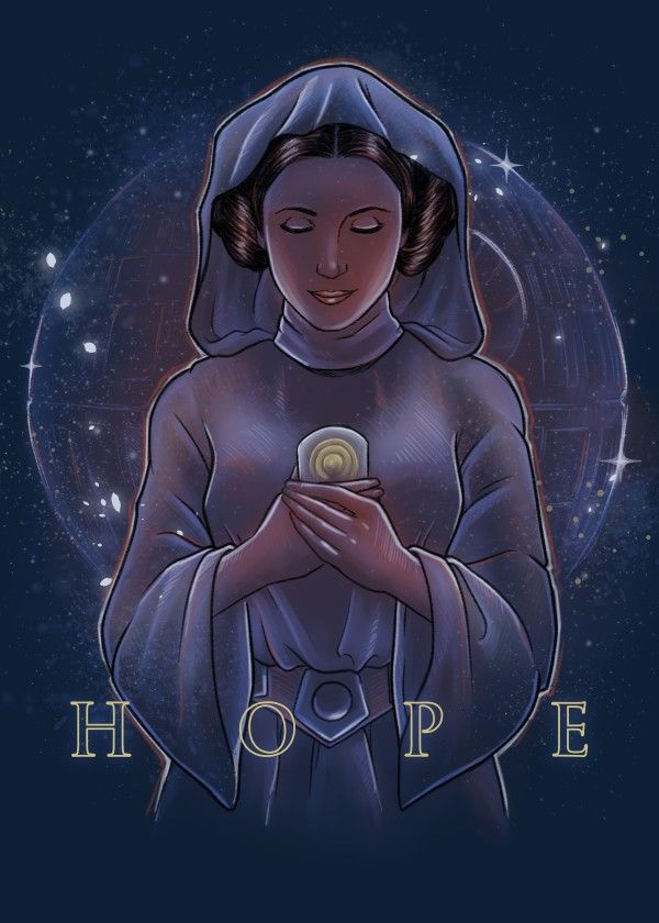 Carrie Fisher. Princess Leia. Fan Art. May the force be with you, always. hope
