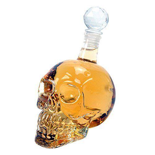 Wine Decanter – 125ML / 350ML / 550ML / 1000ML Crystal Skull Head Bottle Shot Glass pour Whisky Vodka – Idéal pour Home Bar Halloween Party…