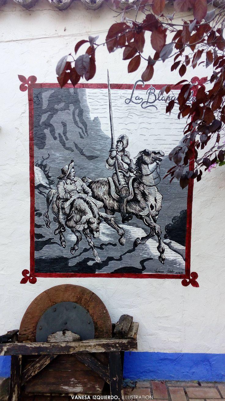 Nuevo mural basado en el trabajo de Gustave Doré. #arte #pintura #acrílico #donquijote #mural #blancoynegro #grabado