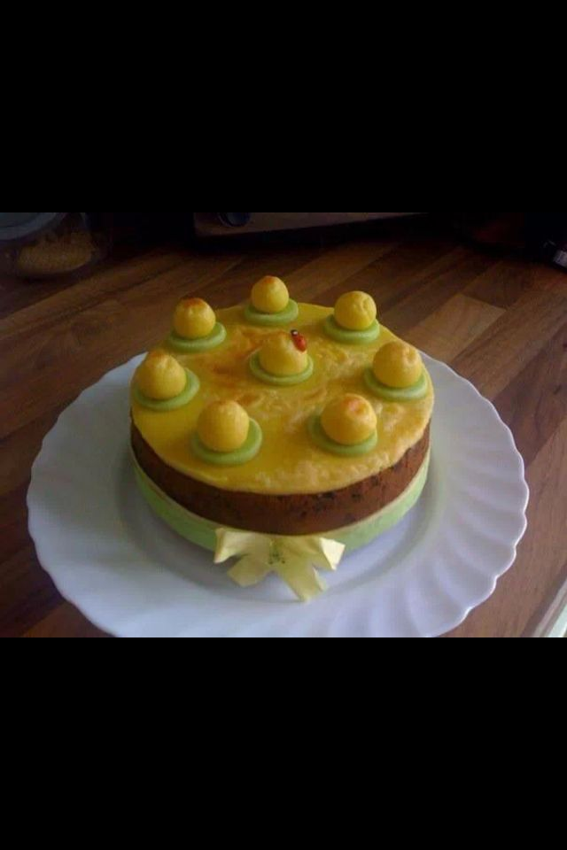 Easter cake.  Simnel cake  marzipan. Fruit cake