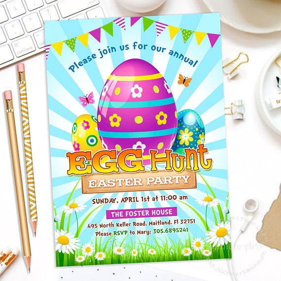 EGG HUNT Invitation Easter Egg Hunt Invite Egg Hunt Party