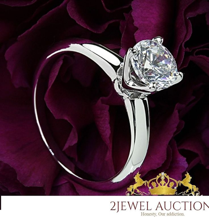 14K White Gold Solitaire Round VVS1 Clear .60 Ct Diamond Engagement Wedding Ring #2jewelauction #Solitaire