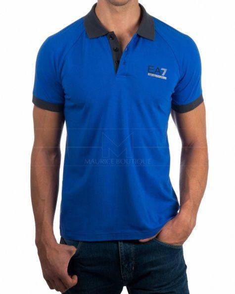 Polo Armani EA7 - Azul electrico   Gris  e6ef23cae4