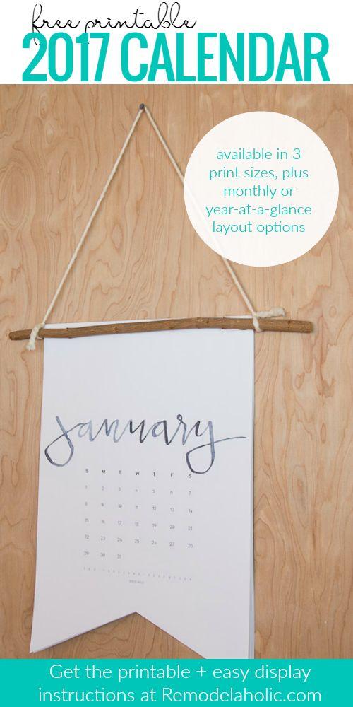Free Printable 2017 Calendar Plus An Easy Tutorial To Make It Into A Boutique