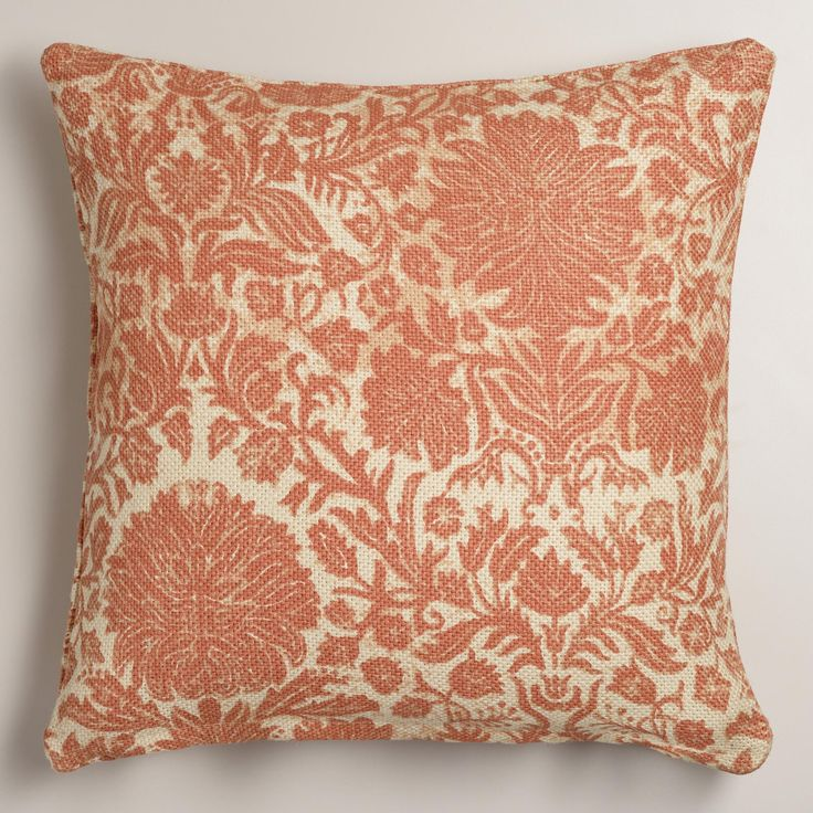 Muted Blue Throw Pillows : Softly washed jute brings a casual, cozy feel while muted orange flowers add a chic ...