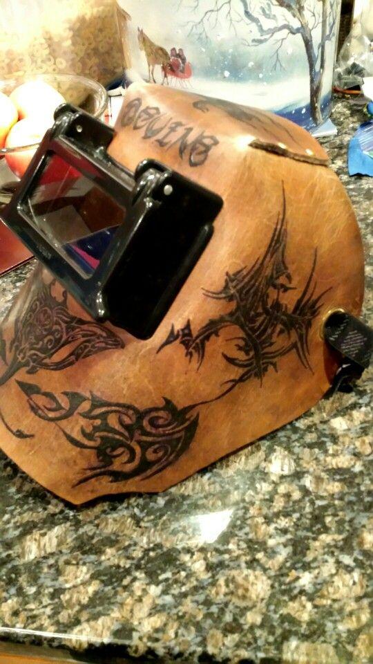 Custom tattooed Hawaiian welding hood