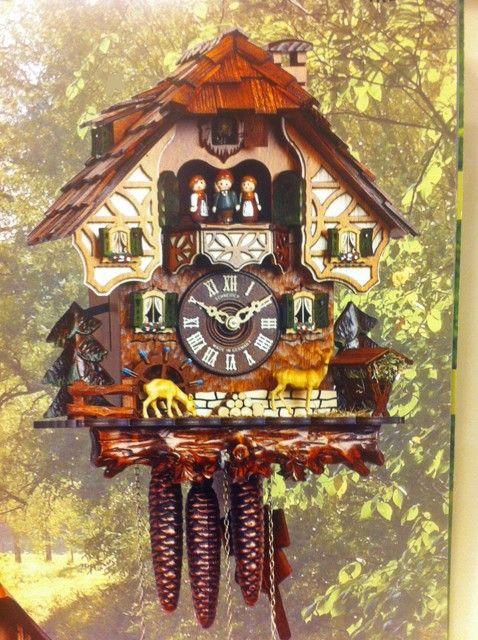 Cuckoo Kingdom - Black Forest House Cuckoo Clock, Animated Deer, Dancers, Water Wheel.