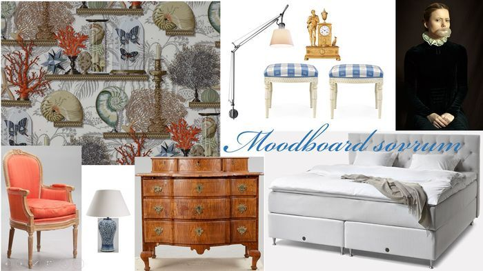 stiligahem.se - Moodboard: Bedroom in gray and China blue | , Le Cabinet de Curiosites, Manuel Canovas., Bubblegum av Romina Ressia, YellowKorner. Tolomeo Wall Lamp with shade, Artemide | antiques with modern | gustavian stools , barock drawer