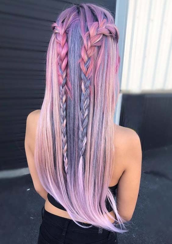 Looking for best ideas of braids? Explore here the beauty of pastel colored #bra…