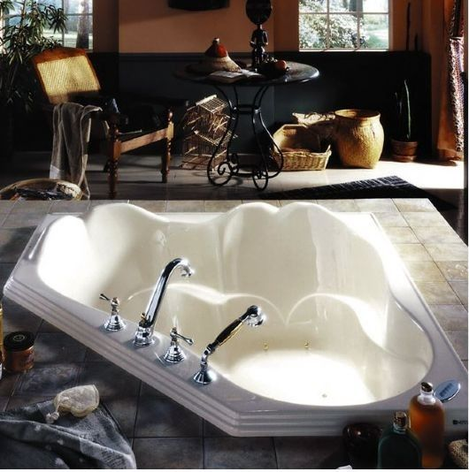neptune orphee corner 54 x 54 tub whirlpool air or soaking tub designed for two and small areas beautiful styling with armrests and raised backrest - Bathroom Tubs