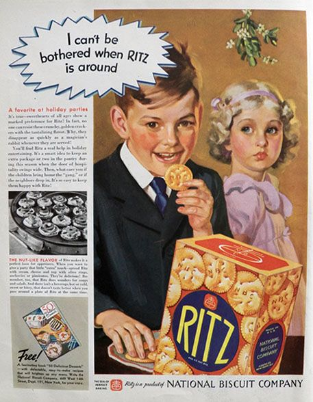 1937 Vintage Ritz Crackers Ad ~ Can't Be Bothered