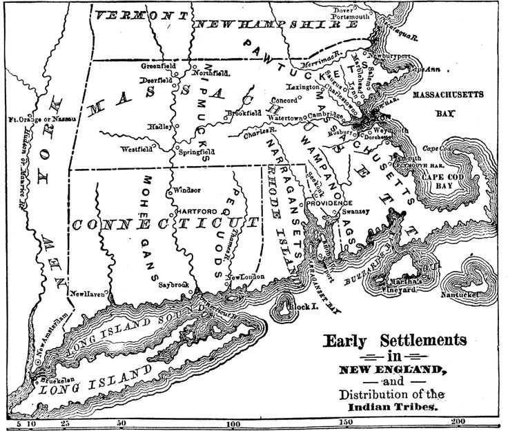 early settlements in new england and distribution of the