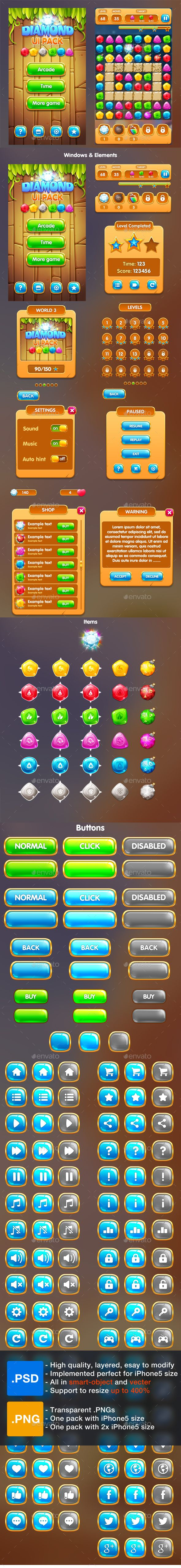 Cartoon Game UI Pack 1 A complete set of graphical user interface (GUI) to build 2D video games.(Perfect with Match 3 game in Diamond, Stone , Jewel style…) Suitable for casual, all-ages, kids, or girls games. - 40 iconic buttons - Text mode and level buttons also provided - Pre-made windows, HUD, and other elements - Full vector and Smart-object So it's customizable and resizeable(Up to 400% still keep the same quality). - Currently .PSD is implemented perfect for iPhone 5 size - Text is…