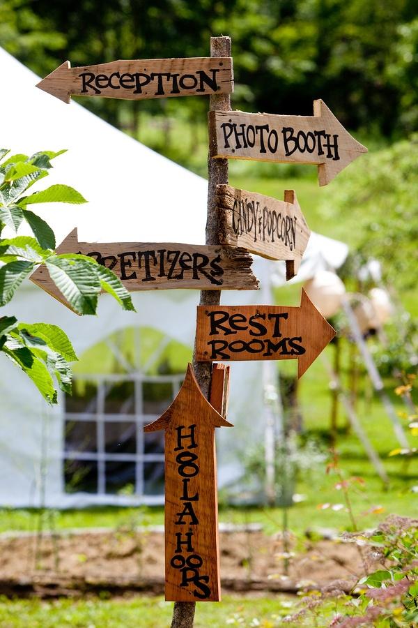 Signage at a garden wedding