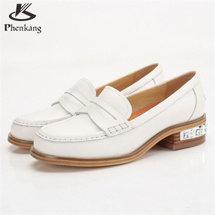 Sheepskin leather shoes women US size 8 handmade black white vintage flats  round Toe British style · Oxford ...