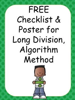 **Please rate and review**Includes poster to display in classroom using a mnemonic device - Does McDonald's Sell Burgers Raw? to remember the steps for the division algorithm, formerly known as long division (Divide, Multiply, Subtract, Bring Down, and Repeat).