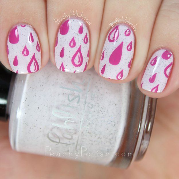 Pink Raindrop Stamping   Peachy Polish
