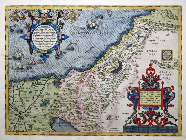 Abraham Ortelius (est. 1572). The first plate used by Ortelius, no date within the title cartouche and five ships and three sea monsters. This is basically a new description of Palestine or the whole Promised Land. The coastline runs from the Nile Delta to Beirut (Berytus).