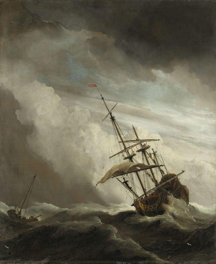 Een schip in volle zee bij vliegende storm, bekend als 'De windstoot', Willem van de Velde (II), ca. 1680