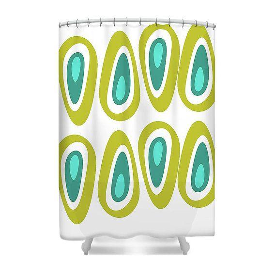 Modern Shower Curtain Mod Shower Curtain Mid by crashpaddesigns