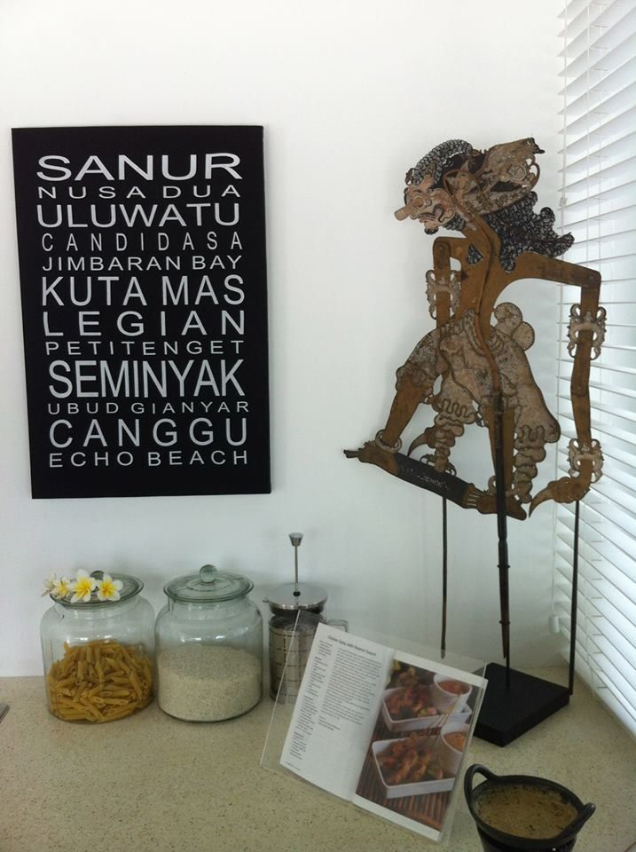 Kitchen has been styled with all the modern utensils but decorated with Indonesian antiques.