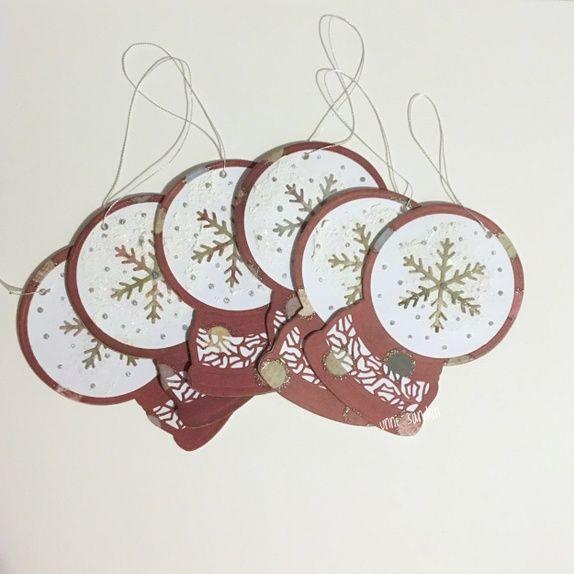 6 julemerkelapper - snøkule