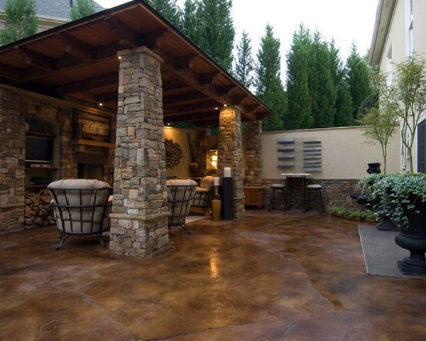 Delightful Acid Stained Concrete Backyard Patio | 603 | Patio Decor Ideas