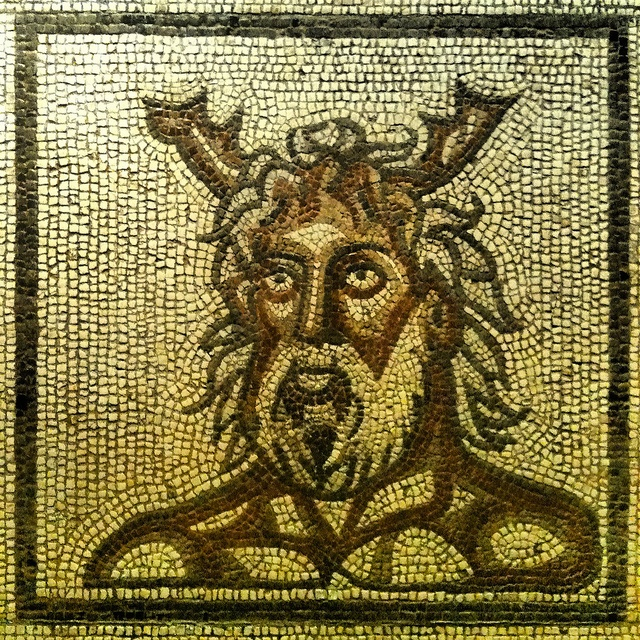 Roman mosaic of a sea god, Verulamium Museum, St Albans by Cathedral City Guide, via Flickr