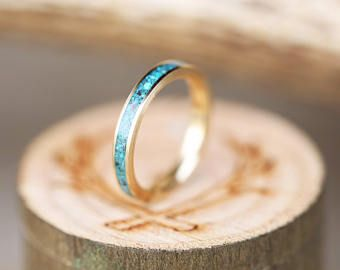 Womens Wedding Band 10K Gold & Turquoise Ring - Staghead Designs