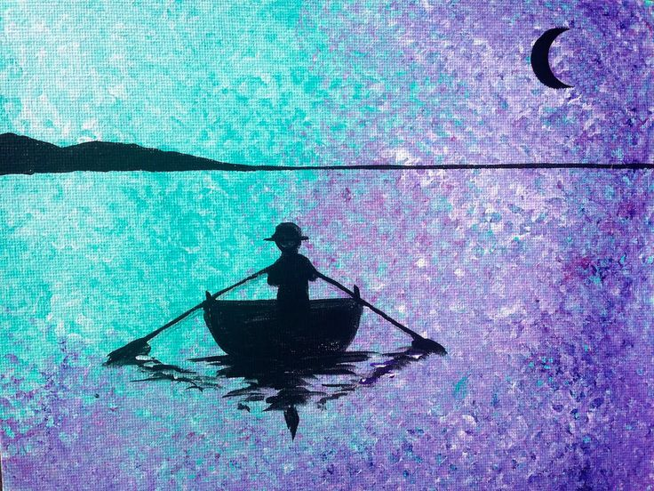 Easy Acrylic Social painting | Row Boat Silhouette | Lake Reflection