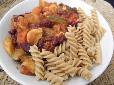 Eat with Love ♥: DUŠENÁ ZELENINA S RAJČATY, FAZOLEMI A KUŘECÍM MASEM #zelenina #rajčata #fazole #kuřecí #těstoviny