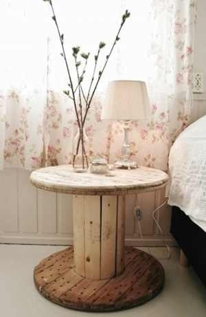 Smaller and taller - of the large wooden spools - also make cute night stands in the bedroom. Paint them, stencil them, or add a cute tablecloth. Very cute, and environmentally conscious decorating too!