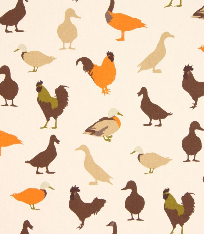 Chickens and ducks are all over this 100% cotton fabric. Available in three colourways, duckegg, jewel and caramel. This fabric is suitable for blinds, curtains and cushions - ideal for a country style kitchen. Our online store and shops in Burford and Cheltenham have huge stocks of discount curtain and upholstery fabrics.