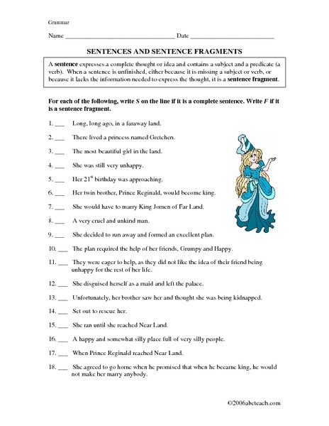 Sentences And Sentence Fragments 5th 7th Grade Worksheet